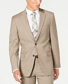 Men's Modern-Fit THFlex Stretch Tan Sharkskin Suit Separate Jacket