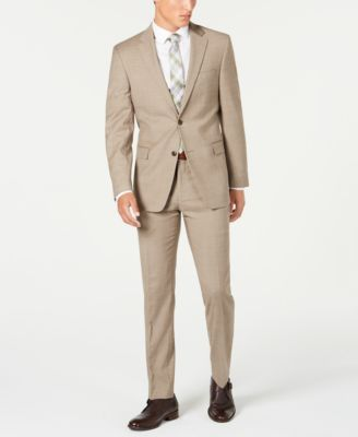 Men's Modern-Fit THFlex Stretch Tan Sharkskin Suit Separate Pants