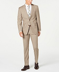 Men's Modern-Fit THFlex Stretch Tan Sharkskin Suit Separates