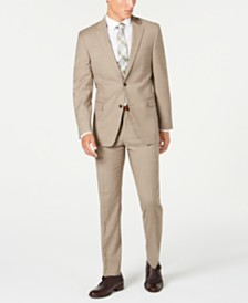 Tommy Hilfiger Men's Modern-Fit THFlex Stretch Tan Sharkskin Suit Separates