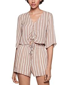 Striped Drawstring Crop Top & Paperbag Shorts