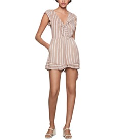 BCBGeneration Striped Ruffled Romper