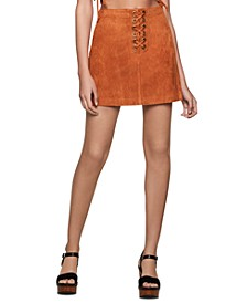 Faux-Suede Lace-Up Mini Skirt