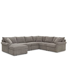 Wedport 6-Pc. Fabric Modular Chaise Sectional Sofa with Square Corner Piece, Created for Macy's