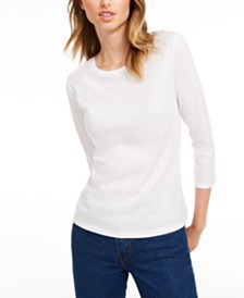 Maison Jules 3/4-Sleeve Solid T-Shirt, Created for Macy's
