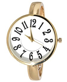 Women's Artsy Large Face Thin Band Cuff Bangle Watch 40mm