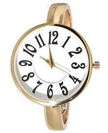 Women's Artsy Large Face Thin Band Cuff Bangle Watch 40mm