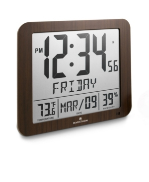 Marathon Slim Atomic Full Calendar Clock with Large 3.25