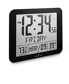 "Slim Atomic Full Calendar Clock with Large 3.25"" Digits, Indoor Temperature"