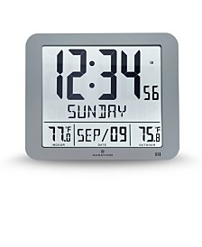 Marathon Slim Atomic Wall Clock with Indoor/Outdoor Temperature, Full Calendar