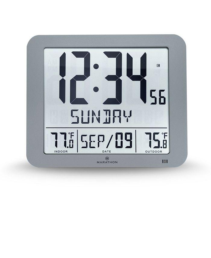 Marathon Slim Atomic Wall Clock With, Best Atomic Clock With Indoor Outdoor Temperature
