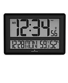 Jumbo Atomic Wall Clock with Date, Indoor Temperature and Humidity