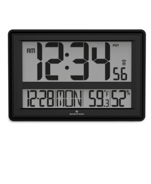 Marathon Jumbo Atomic Wall Clock with Date, Indoor Temperature and Humidity