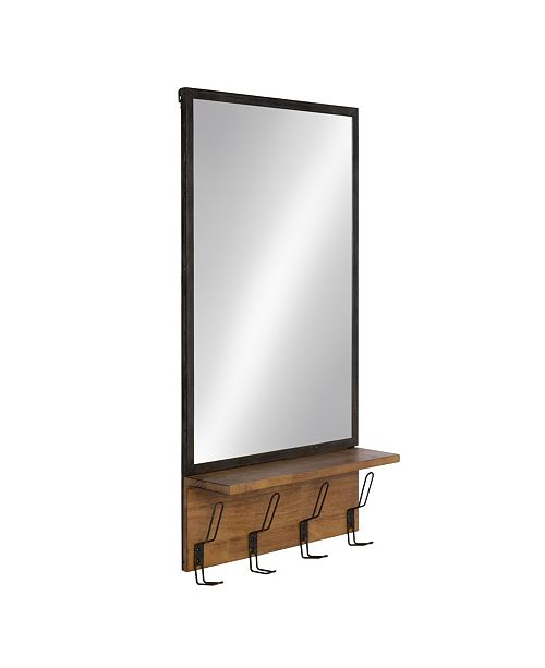 """Kate and Laurel Coburn Metal Mirror with Wood Shelf and Hooks - 20"""" x 36.5"""""""