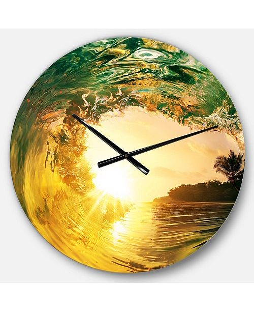 Designart Modern Seashore Round Metal Wall Clock