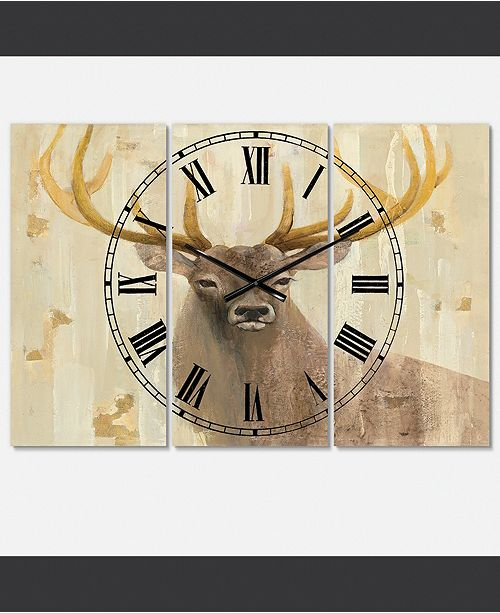 Designart Farmhouse 3 Panels Metal Wall Clock