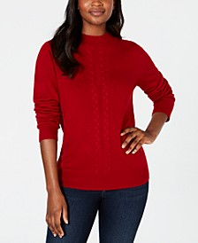 Cable-Front Mock-Neck Sweater, Created for Macy's