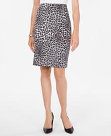 Kasper Leopard-Print Pencil Skirt