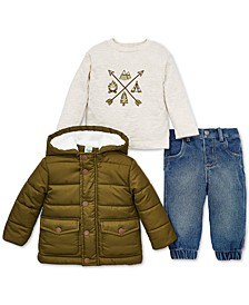Baby Boys 3-Pc. Hooded Puffer Jacket, Camp-Print T-Shirt & Jeans Set