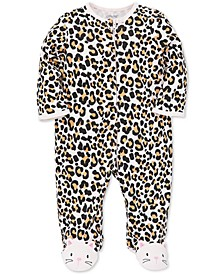 Baby Girls Animal-Print Cotton Footed Coverall