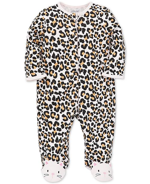 Little Me Baby Girls Animal-Print Cotton Footed Coverall