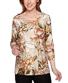 Petite Street Smart Floral-Print Lace-Neck Top