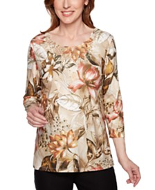 Alfred Dunner Petite Street Smart Floral-Print Lace-Neck Top