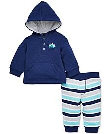 Baby Boys 2-Pc. Dinosaur Hoodie & Striped Pants Set