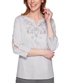 Alfred Dunner Petite Boardroom Embroidered Split-Sleeve Top