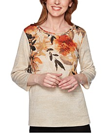 Petite Street Smart Floral-Print Lattice-Neck Top