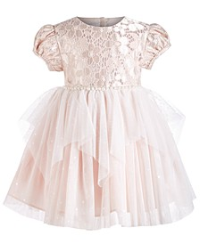 Baby Girls Metallic Lace Mesh Dress