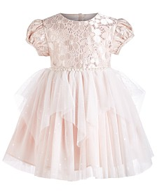 Bonnie Baby Baby Girls Metallic Lace Mesh Dress