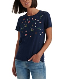Lucky Brand Multi-Colored Embroidered T-Shirt