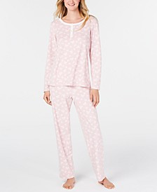 Women's Petite Super Soft Textured Fleece Pajamas, Created For Macy's