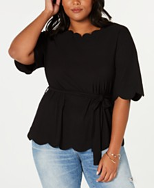 Monteau Trendy Plus Size Belted Scalloped-Edge Top