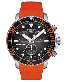 Men's Swiss Chronograph SeaStar Orange Rubber Strap Diver Watch 45.5mm