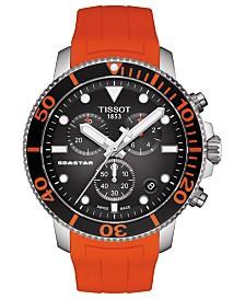Tissot Men's Swiss Chronograph SeaStar Orange Rubber Strap Watch 45.5mm