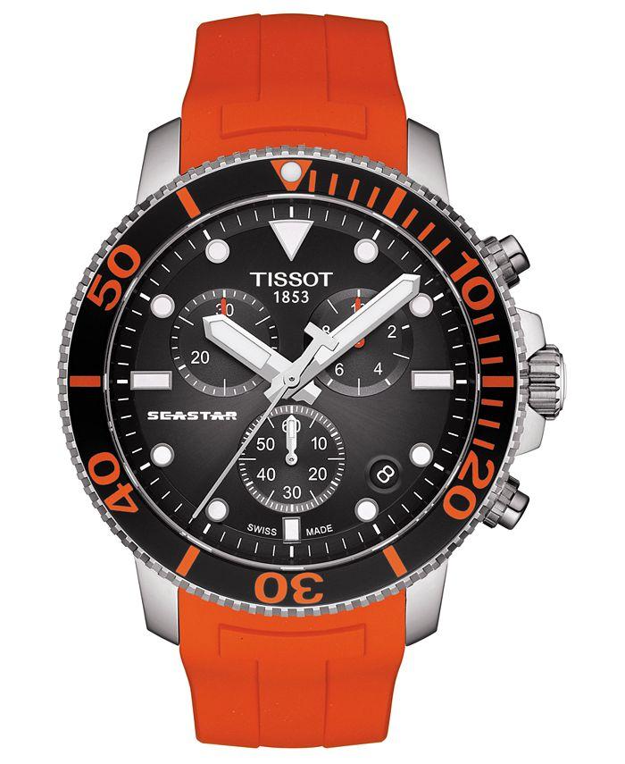 Tissot - Men's Swiss Chronograph SeaStar Orange Rubber Strap Watch 45.5mm