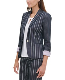 Tommy Hilfiger Striped One-Button Blazer