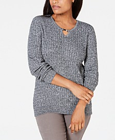 Cotton Cable-Knit Keyhole Sweater, Created for Macy's