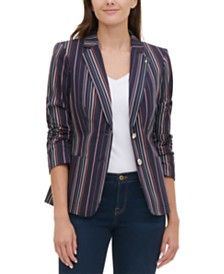 Tommy Hilfiger Striped 2-Button Blazer