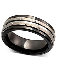 Men's Tungsten Ring, Black Ceramic Tungsten Design Ring