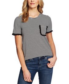 CeCe Thin-Stripe Pocket T-Shirt
