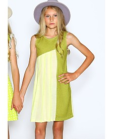 Lanoosh Toddler Girls A-Line Dress with Pleated Marrow Detail