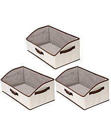 Low Front Fabric Storage Bin with Riveted Handles 2-Pack