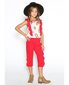 Lanoosh Little Girls Normal Fit Pant with Scallop Side Detail