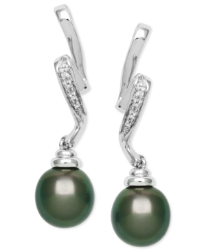 Cultured Tahitian Pearl (8mm) and Diamond Accent Swirl Earrings in Sterling Silver