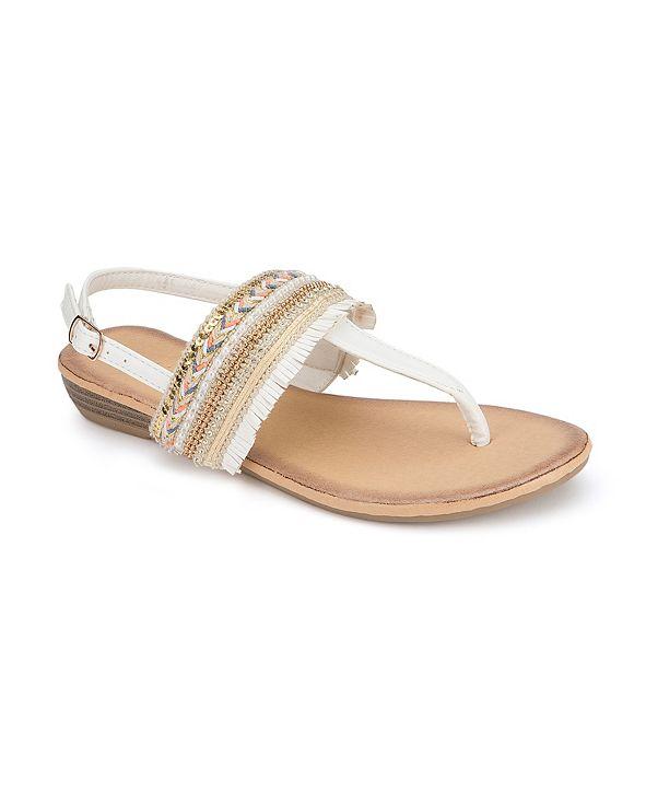 Olivia Miller Seaside Fringe Wedge Sandals