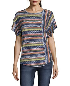 John Paul Richard Printed Knit Top with Ruffle Sleeves