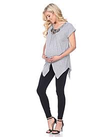 White Mark Maternity Myla Embellished Tunic Top